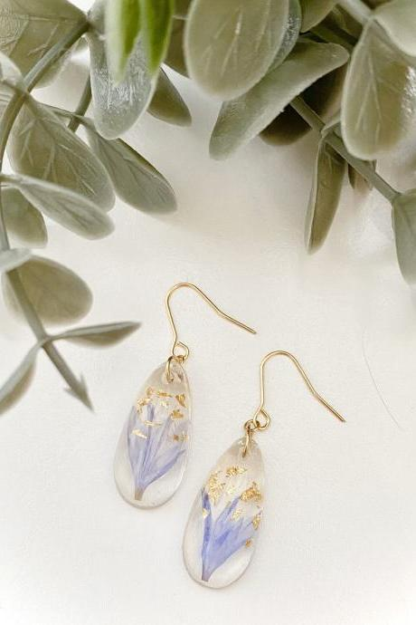 Resin Earrings, Real pressed dried flowers earrings/ Water drop resin earrings