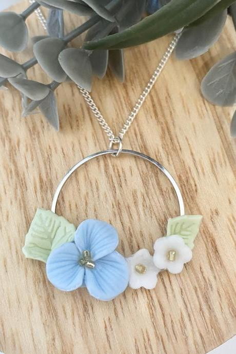 Wreath long necklace with blue flowers / Polymer clay
